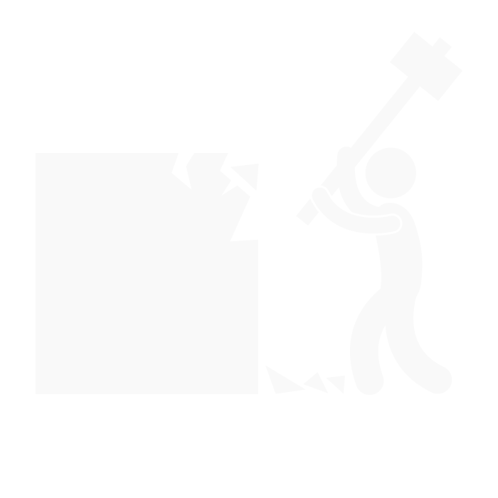 man destroying a box with a hammer